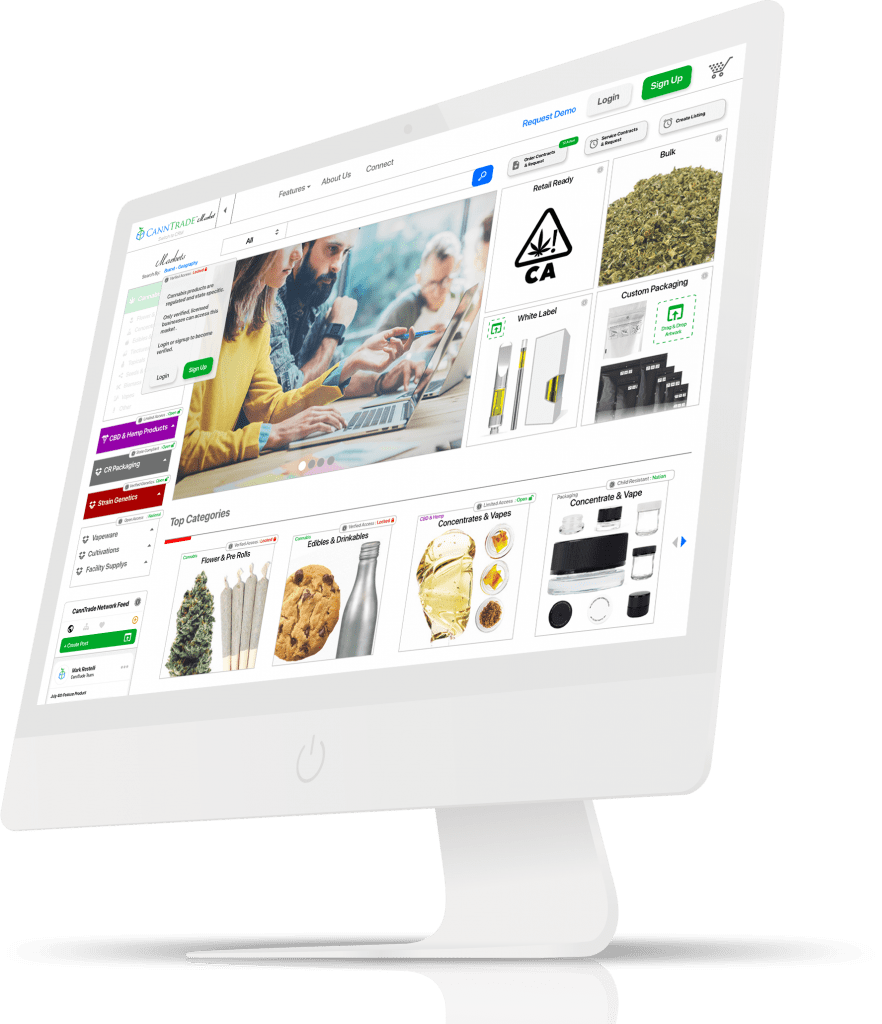 Everything Cannabis Industry Marketplace Displayed on an Imac Computer