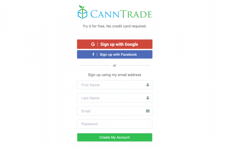 Image Displaying The CannTrade Registration Page