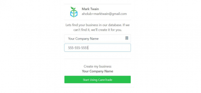 Search your businesses name in the CannTrade database