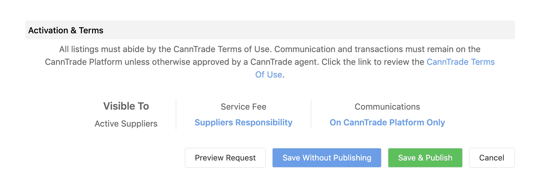 This image displays the CannTrade watch & request form